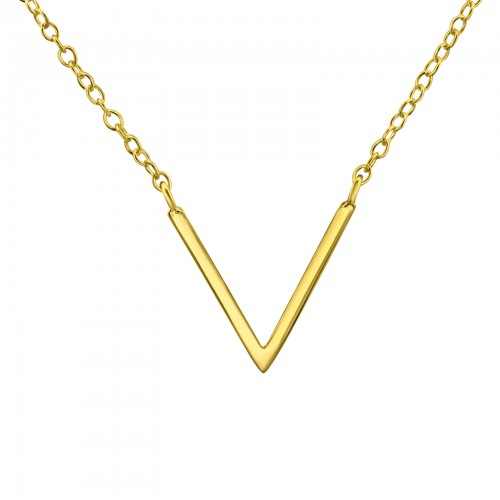 silver V necklace (gold plated)