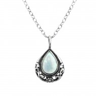 Silver tear drop necklace