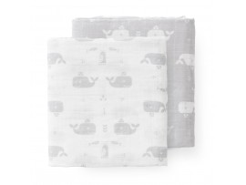 Fresk swaddle set whale dawn grey 120x120