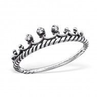 Silver Crown Ring With Cubic Zirconia
