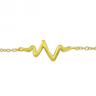 Zilver Heartbeat armband goldplated