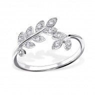 Silver Branch Ring with Cubic Zirconia