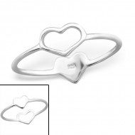 Silver double hearts ring