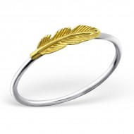 Silver feather ring (gold plated)