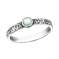 Silver Hammered Ring with Opal