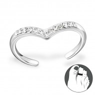 Silver heart toe ring with crystal