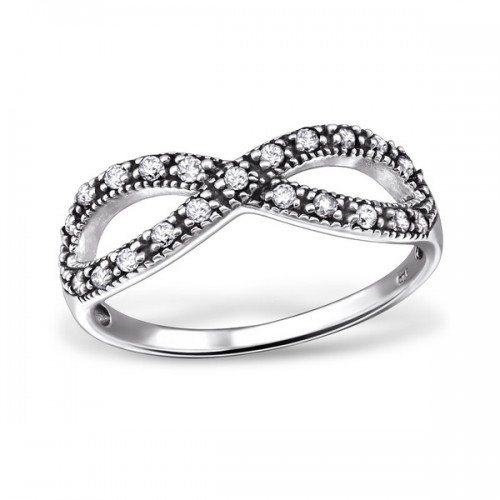 Silver cubic infinity ring
