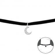 Silver Moon Choker with Cubic Zirconia