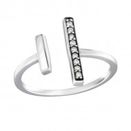 Silver Open Bar Ring with Cubic Zirconia