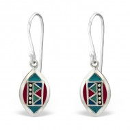 Silver Oval Earrings with Other