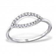 Silver Oval Ring with Cubic Zirconia