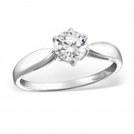 Classic Silver Round Ring with Cubic Zirconia