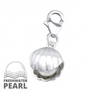 Silver Shell Lobster Charm with Pearl
