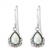 Silver tear drop opal earrings