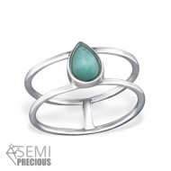 Silver Teardrop Ring with Amazonite