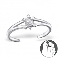 Silver Turtle Toe Ring Adjustable