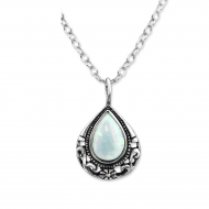Silver tear drop necklace with opal