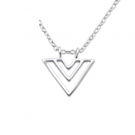 Silver double triangle necklace