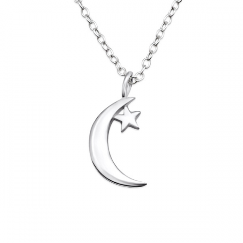Silver moon star necklace