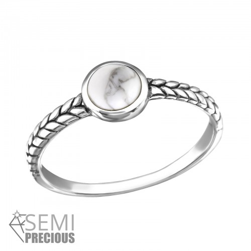 Silver ring oxidized ring with howlite