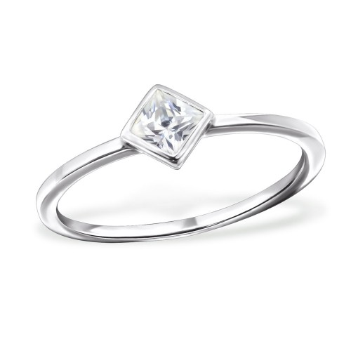 Silver cubic square ring