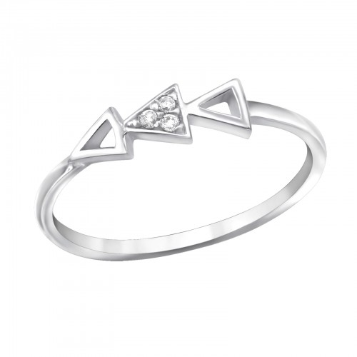 Silver geometric triangle ring