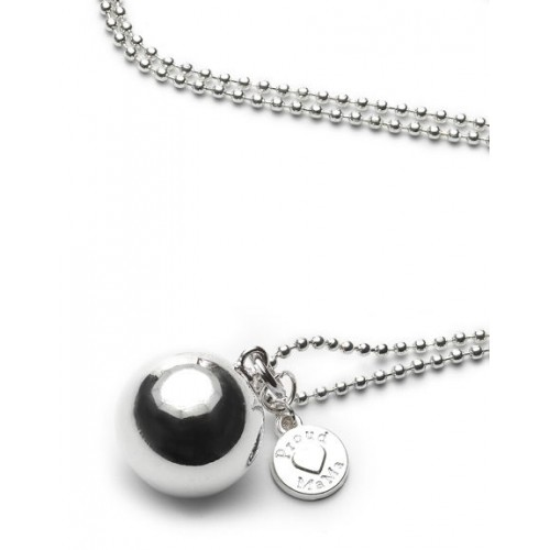 Proud MaMa ballchain zilver, rond babybel ketting