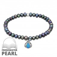 Silver Oval Bracelet with Pearl and Opal