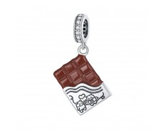 Chocolade reep dangle bedel zirkonia