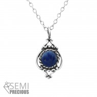 Silver precious stone necklace (blue)