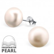 Freshwater 10mm Pearl Silver Ear Studs Pink