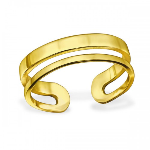 Silver double line ring (gold plated)