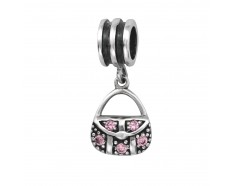 Handtas met roze zirkonia dangle bedel