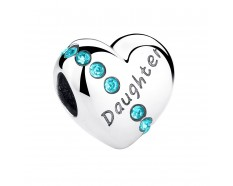 Hart Daughter bead blauwe zirkonia