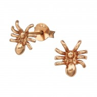 zilver rose-gold plated spin oorstekers