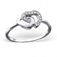 Silver double heart ring zirconia
