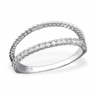 Zilver double line ring zirconia