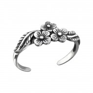 Silver Flowers Toe Ring