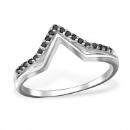 Silver geometric ring with black spinel