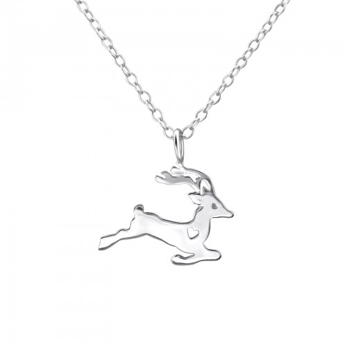 Silver Reindeer Necklace