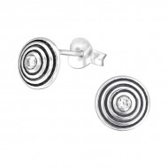 Silver round ear studs