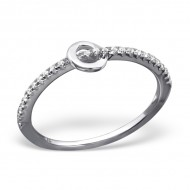 Silver dotted round ring