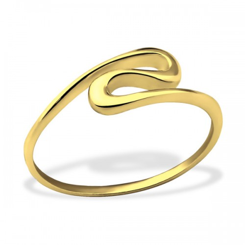 Zilveren wave ring (gold plated)