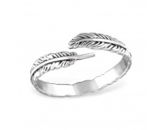 Silver open leaf ring