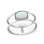 Silver Double Line Ring with Opal